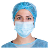 Háromrétegű kék egészségügyi maszk